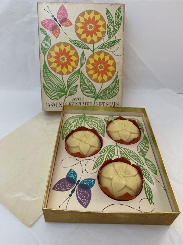 Avon Vintage Jasmin Gift Soaps Set of 3 w/ Box Perfumed Please see the photos