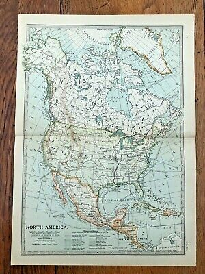 1903 large colour fold out map titled - north america !