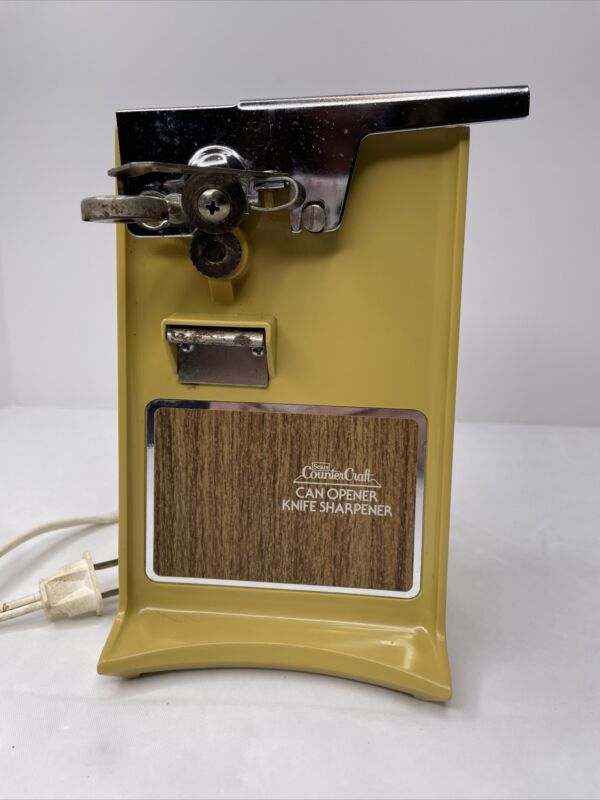 Electric SEARS Harvest Gold Counter Top Can Opener + Knife Sharpener ~ Tested