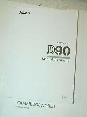 NIKON D90 DSLR CAMERA INSTRUCTION MANUAL GUIDE BOOK ORIGINAL GENUINE SPANISH for sale  Shipping to India