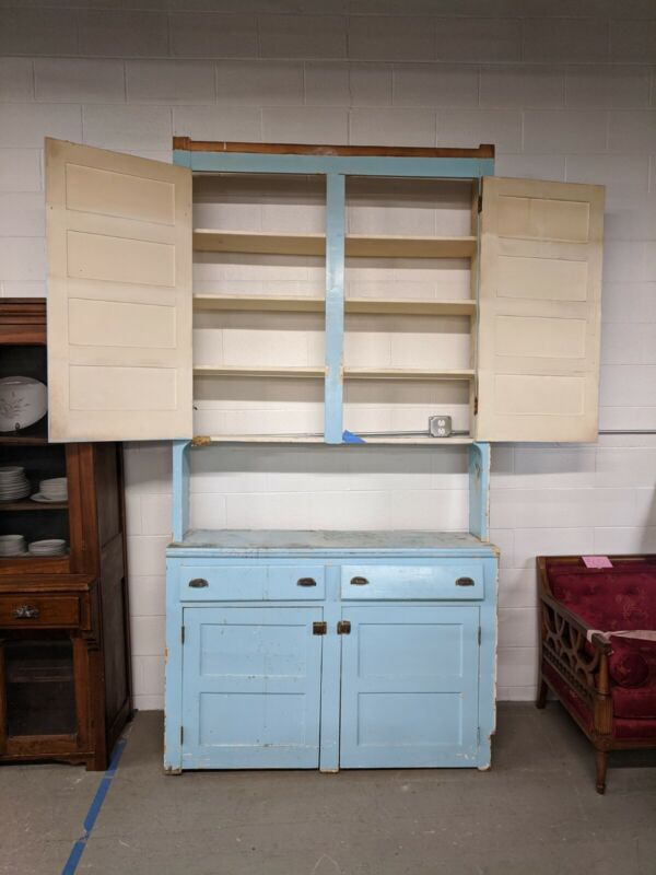 Vintage Step-back Kitchen Cabinet-Solid Wood Beautiful blue color