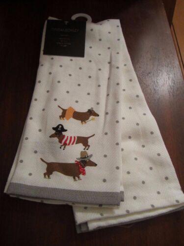 Set Of 2 Kitchen Towels Dachshund Dogs Halloween Polka Dot Cynthia Rowley NWT