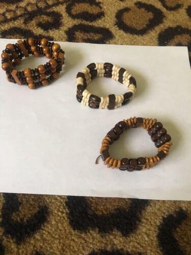 Jewelry Mixed Wood Beads Women's Stretchy Bracelets 3 Pieces