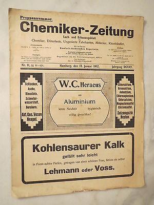 Hamburg - Chemikerverein - Chemiker-Zeitung von 1912 - Humor - Satire