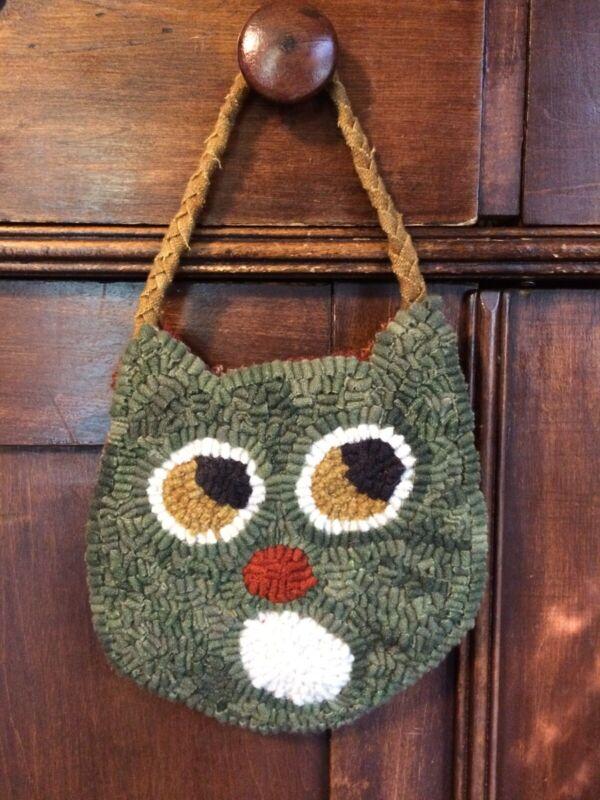Primitive Hooked Halloween Cat hanger