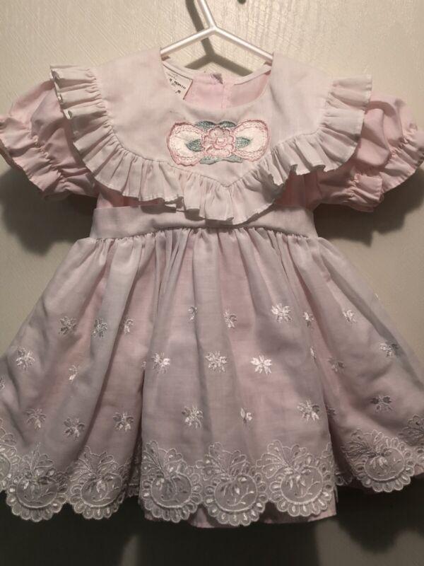 Vintage Dress 18 Mo Mini World Pinafore Apron 2pc Pink White