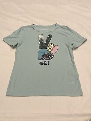 ABERCROMBIE KIDS GIRLS MINT GREEN PEACE TOP SIZE 9/10