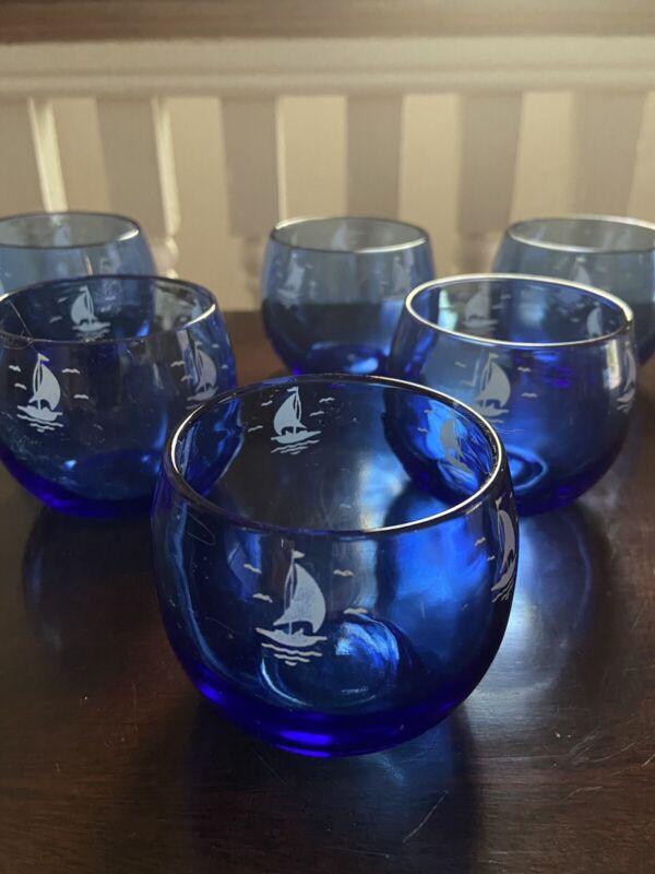 6 HAZEL ATLAS Cobalt Blue Sailboats/Seagulls  ROLY POLY Tumblers Vintage
