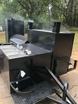 Mega Hogzilla 4 Sinks Hot Cold Water System Bbq Grill Smoker Trailer Food Truck