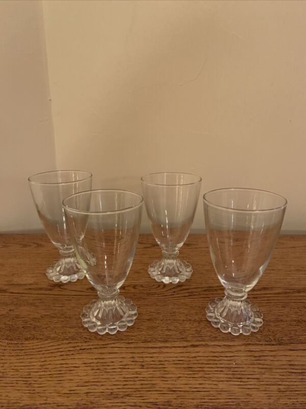 """SET OF 4 Anchor Hocking BOOPIE BUBBLE CLEAR 5-1/2"""" Water Goblet Wine Glass; EUC!"""
