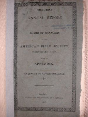 The First Annual Report of the Board of Managers of the ABS - 1817