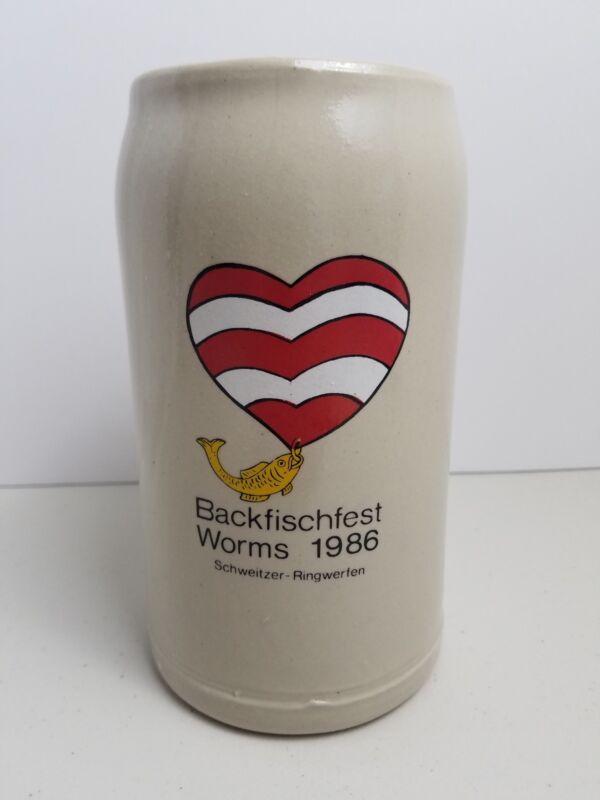 Backfischfest Worms 1986 Beer Stein Schweitzer-Ringwerfen