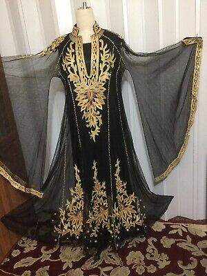 Fancy black ABAYA caftan dress wedding Gown Maxi Bell Sleeves Saudi princess cut