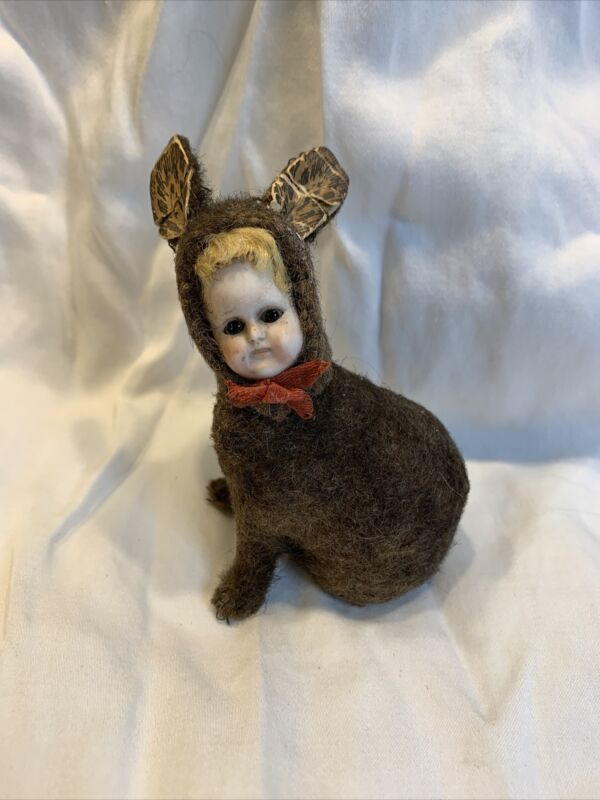 German Rabbit Candy Container With Bisque Face