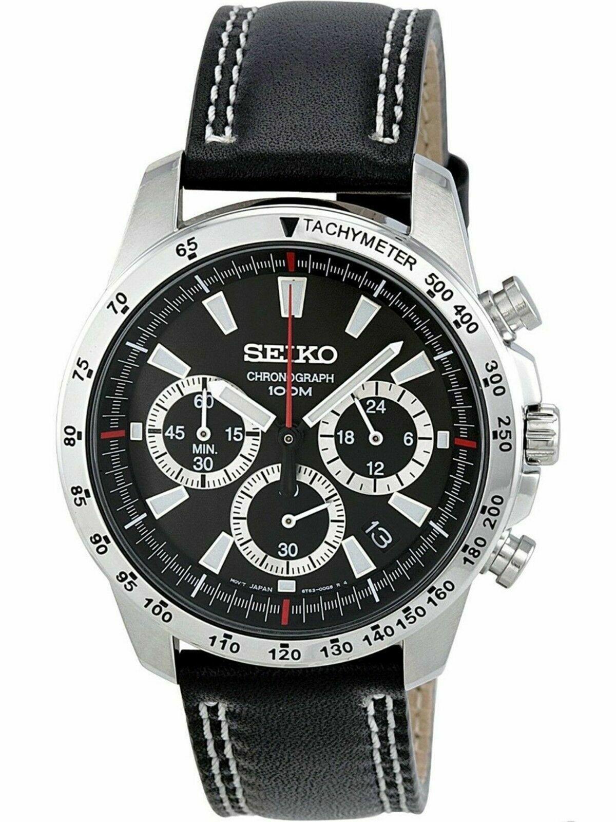 Seiko SSB033 Japan Quartz Chronograph Black Leather 100m Men