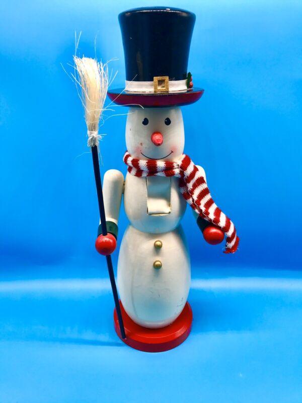 "Snowman Christmas Nutcracker 14"" Hat Scarf Broom Carrot Nose"