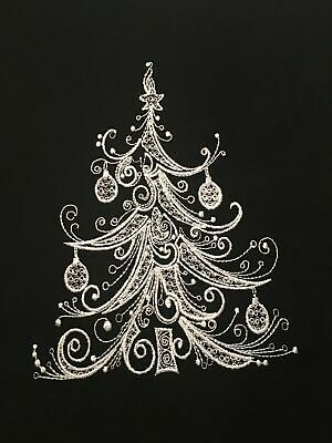Christmas Tree EMBROIDERED QUILT BLOCK Beautiful ()