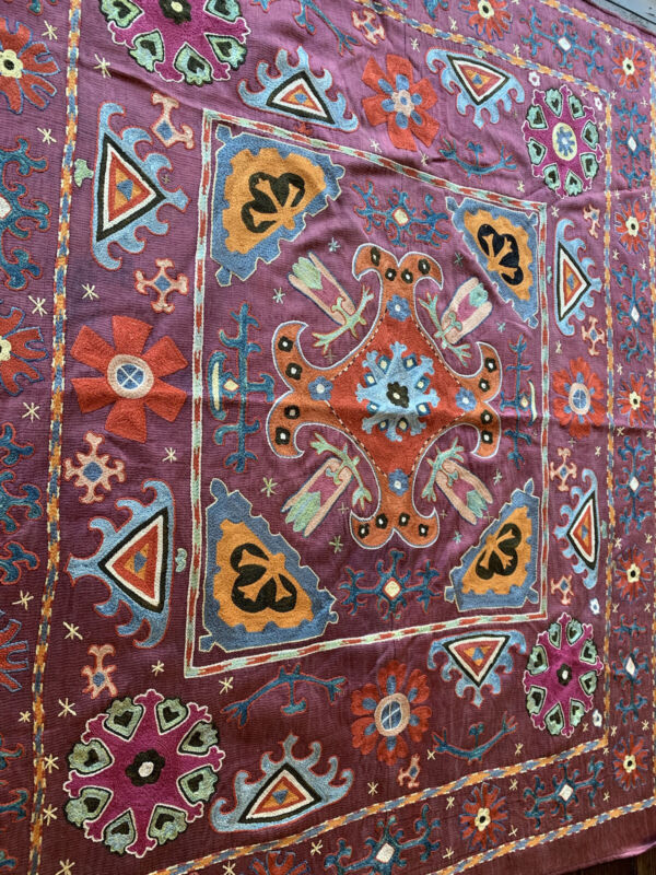 Silk Suzani  Vintage Uzbek handmade embroidery, gorgeous