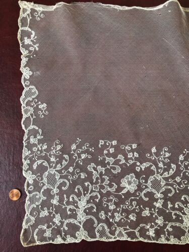 Early Victorian needlerun net lace bonnet veil COSTUME COLLECT