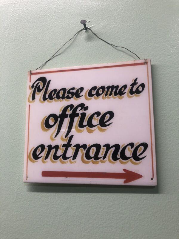 Estate Find Antique 1940's Handmade Plastic Medical Office Sign