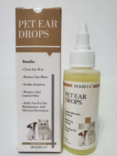 Pet Ear Drops Treats Itch Wax Fungus Yeast Mites Pain Medicine for Cats & Dogs