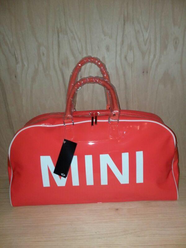 Mini Cooper Original Shiny Bright Orange Duffel Bag Block Lettering W/Strap/HAT