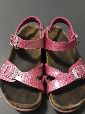 BIRKENSTOCK ANKLE STRAP HOT PINK GLITTER GIRLS 33 SANDALS SIZE 2 US
