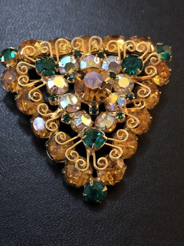 Vintage Rhinestine Brooch Gorgeous Stunning Estate Jewelry