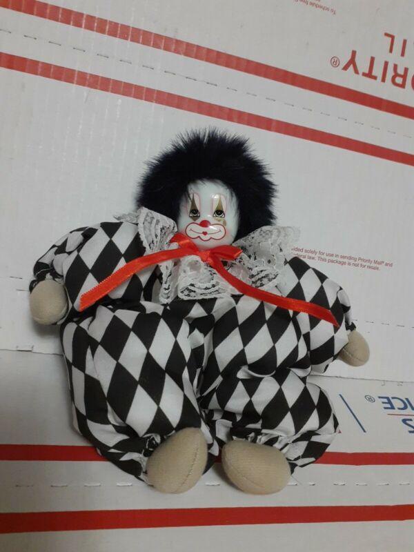 """VINTAGE Clown Doll Porcelain Head Bean Bag Body 7"""" Made In Thailand"""