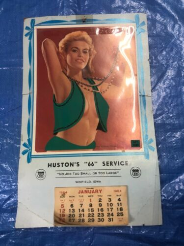 VINTAGE 1964 NUDE WALL CALENDAR HUDSON PHILLIPS 66 GAS STATION WINFIELD IOWA
