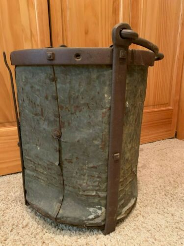 LARGE ANTIQUE GOLD RUSH MINING MINE RIVETED ORE BUCKET PLACER COUNTY CALIFORNIA