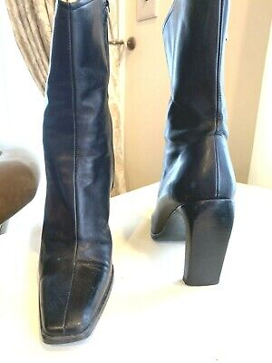 Gucci Vintage MADE IN ITALY Leather Square Toe Boots SIZE 6B