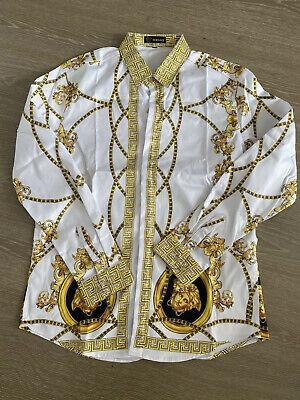 Men's Versace Long Sleeve Slim Fit Shirt White & Gold Medium