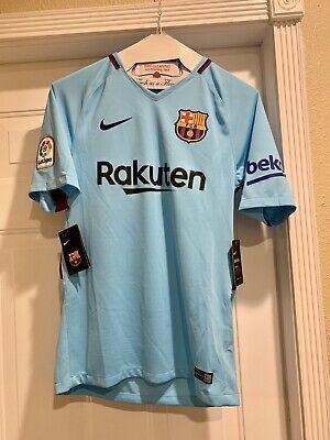 f766f34ba54 NWT Nike FCB Barcelona 2017/18 Messi 10 away jersey polarized blue sz M  Barca