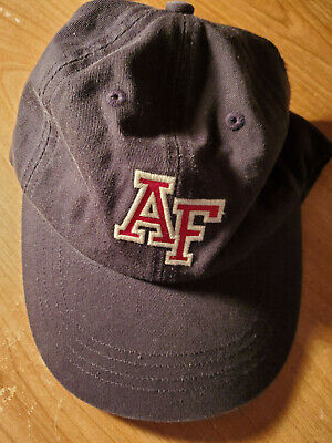 ABERCROMBIE & FITCH Navy, Red Embroidered A F, Leather Strap Hat Ball Cap. VTG!