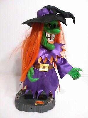 "Rare Gemmy 17"" Animated/Musical Witch Orange Hair Halloween - Read Description"