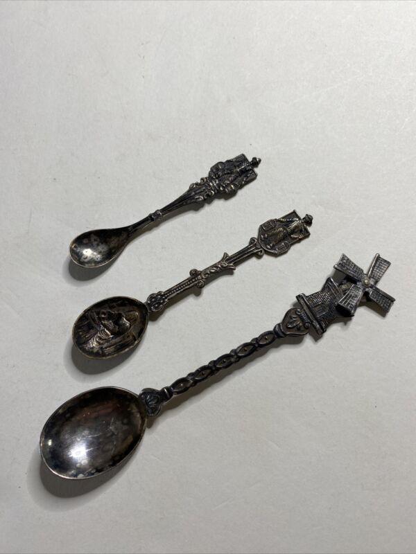 VTG Made Holland Souvenir Spoon Lot of 3 Windmill & Farmers Silverplate