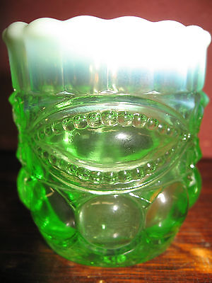 Green Opalescent glass eyewinker pattern tabletop toothpick / match holder mint
