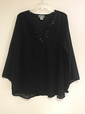 Women's Plus Black Embellished V Neck Lined Polyester Top Blouse 1X-2X-3X NWT