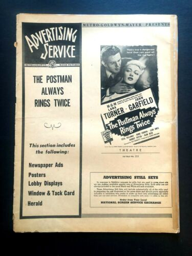 """The Postman Always Rings Twice Pressbook (1946) - 12 Pages - 11"""" x 15""""  VG/EX"""