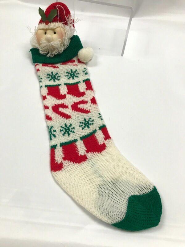 Vintage Christmas Stocking Knit With Stilled Mop Head Doll Santa Claude Pom Pom