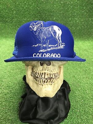 Vintage Colorado Big Horn Sheep Blue Snapback Mwah Trucker Hat Cap Flat Bill](Sheep Hat)