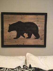Big Black Bear on Barnboard