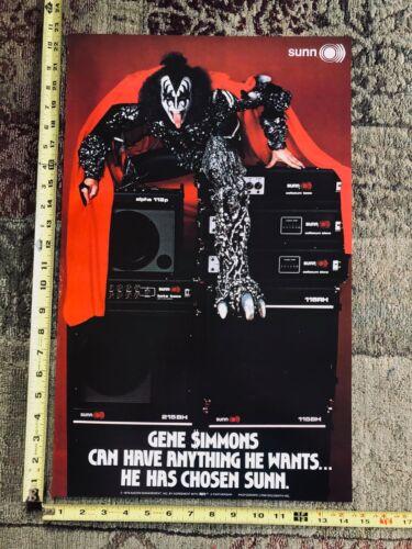 🔥Vintage KISS GENE SIMMONS 1979 AUCOIN Promo Poster - Sunn Amps - Near Mint!!!