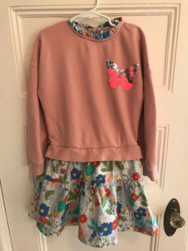 Mini Boden 7 8 yr girl dress sequin Colour Change long sleeve bunny sweat shirt