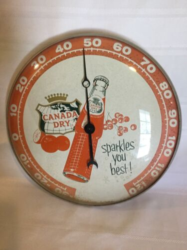 """Vintage CANADA DRY Orange Soda Advertising Thermometer 12"""". Pam Clock Co. 1961"""