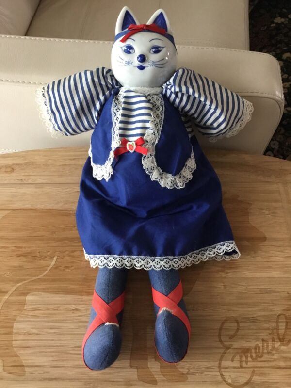 Vintage Cloth Cat Doll With Blue & White Ceramic Head Blue & White Clothing