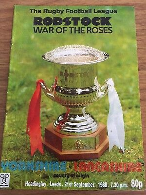 Yorkshire Vs Lancashire Rugby League War Of The Roses Programme 21/09/1988