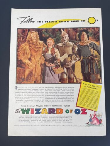 Vintage 1939 LARGE Color Ad – WIZARD OF OZ  MGM Movie Promo Release Judy Garland