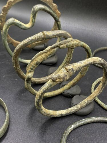 Lot Of Antique Bronze Bangles Bracelets From Ancient Steppe Cultures Rare Unique